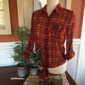 Adorable Sheer Red Plaid Blouse